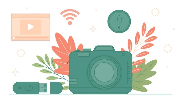 Digitale fotocamera social media concept. wifi-hotspot en draadloze satellietzone.