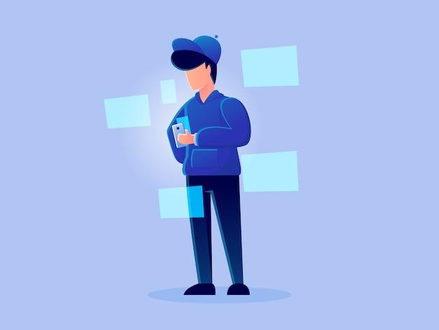 Digitale futuristische analytics hologram werkende karakter vector ontwerp illustratie