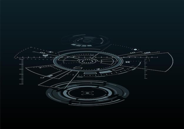 Digitale futuristische gebruikersinterfaces hud voor app en web abstracte vectorillustratie