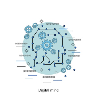 Digitale geest platte ontwerp stijl vector concept illustratie