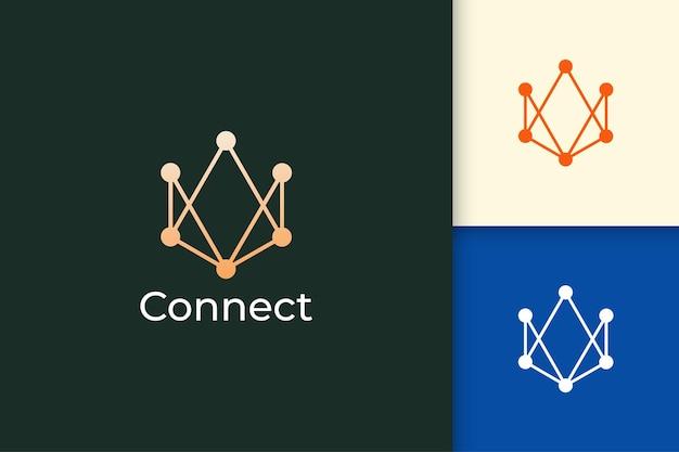 Digitale gegevens of sluit logo-concept voor technologiebedrijf