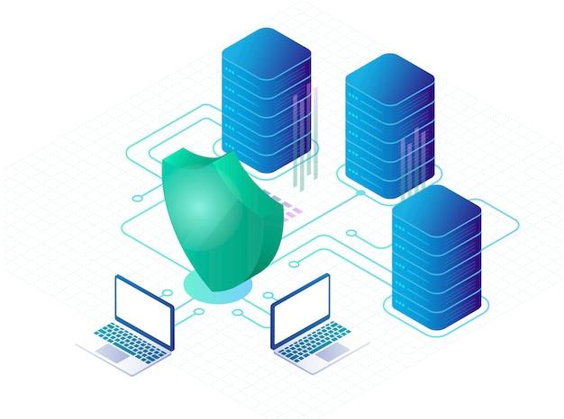 Digitale gegevens veilig en gegevensbeveiligingsconcept. cyberbeveiliging. isometrisch