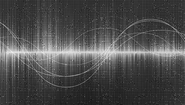 Digitale geluidsgolven op grijze achtergrond