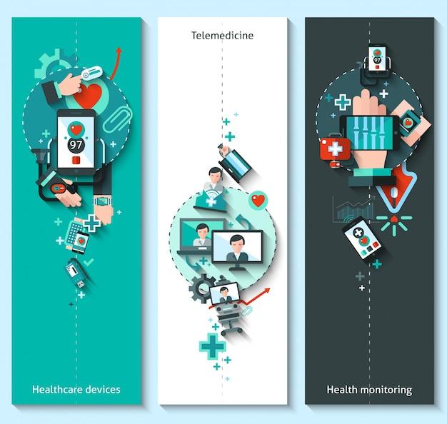 Digitale geneeskunde banners verticaal
