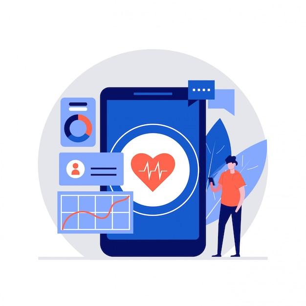 Digitale gezondheid illustratie concept met karakters. moderne stijl voor bestemmingspagina, mobiele app, poster, flyer, sjabloon, webbanner, infographics, heldenafbeeldingen