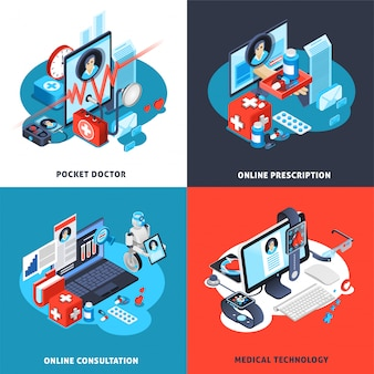 Digitale gezondheid isometrische compositie set