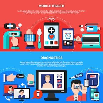 Digitale gezondheidsgadgets platte banners