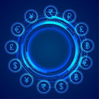 Digitale globale het conceptenachtergrond van muntpictogrammen