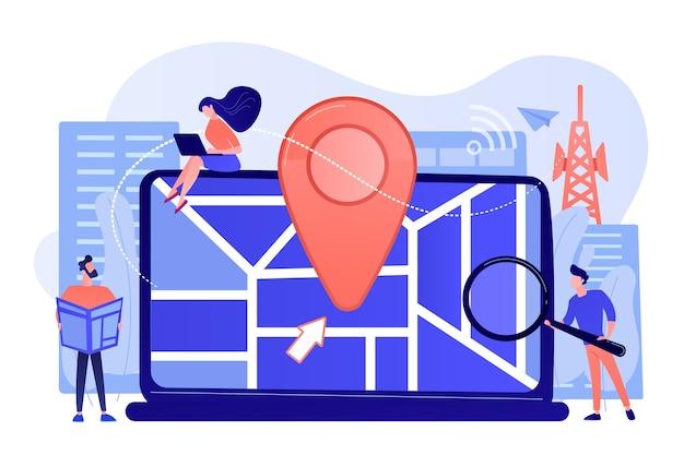Digitale gps-applicatie voor smartphones. geotag teken op stadsplattegrond