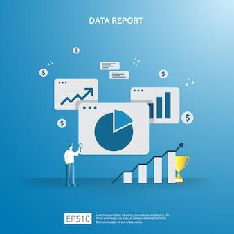 Digitale grafiekgegevens voor seo-analyse en strategisch met karakter. statistische informatie, financieel auditrapportdocument, marketingonderzoek voor bedrijfsbeheerconcept.