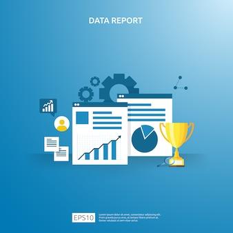 Digitale grafiekgegevens voor seo-analyse en strategisch. statistische informatie, financieel auditrapportdocument, marketingonderzoek voor bedrijfsbeheerconcept.