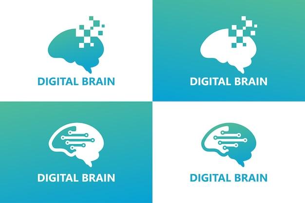Digitale hersenen logo sjabloon premium vector