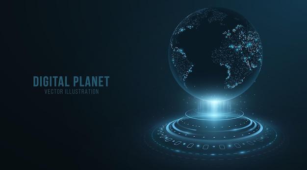 Digitale holografische planeet met hud-elementen. earth globe hologram. 3d futuristische dot wereldkaart in cyberspace met lichteffecten. vector illustratie. eps 10