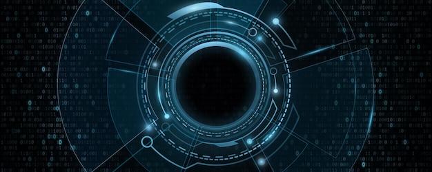 Digitale hud gui ui met binaire code. futuristische, sci-fi gebruikersinterface. virtuele moderne afbeelding. technologie achtergrondontwerp. dashboardweergave. vector illustratie. eps 10