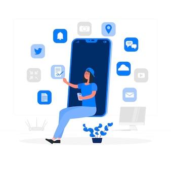 Digitale hulpmiddelen concept illustratie