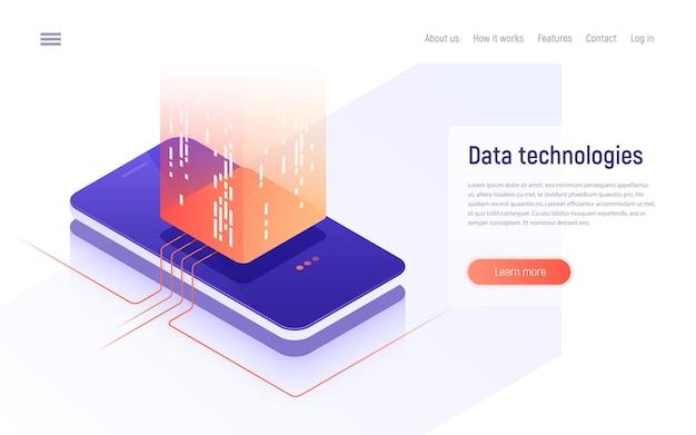 Digitale informatietechnologieën, netwerken, gegevensverwerking isometrisch concept.