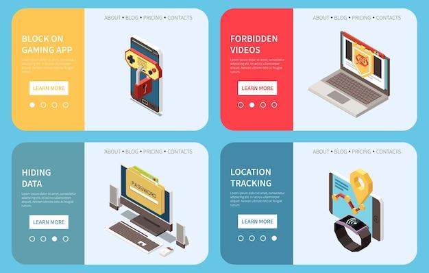 Digitale internetcontrole voor ouders 4 webbanners met het blokkeren van locatietracking van gaming-apps en verbergen van gegevens