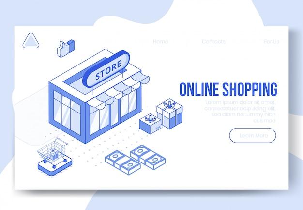 Digitale isometrische ontwerpconceptenset van online het winkelen