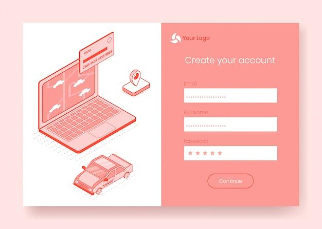 Digitale isometrische ontwerpconceptenset van online taxireservering