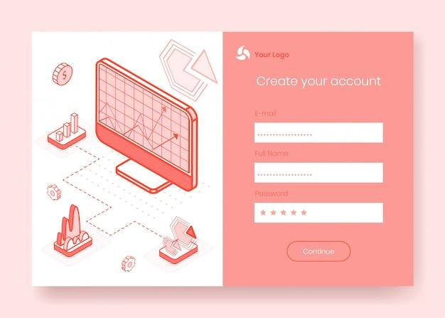 Digitale isometrische ontwerpconceptenset