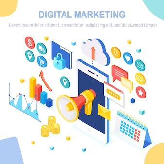 Digitale marketing. 3d isometrische mobiele telefoon. reclame voor bedrijfsontwikkelingsstrategieën. analyse van sociale media