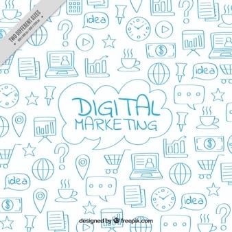 Digitale marketing achtergrond met blauwe krabbels