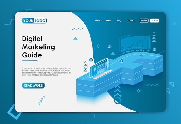Digitale marketing achtergrond voor website-bestemmingspagina