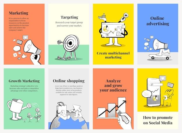 Digitale marketing banner sjablonen kleurrijke doodle illustraties voor zakelijke collectie