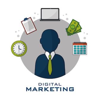 Digitale marketing bedrijfsstrategiepictogrammen