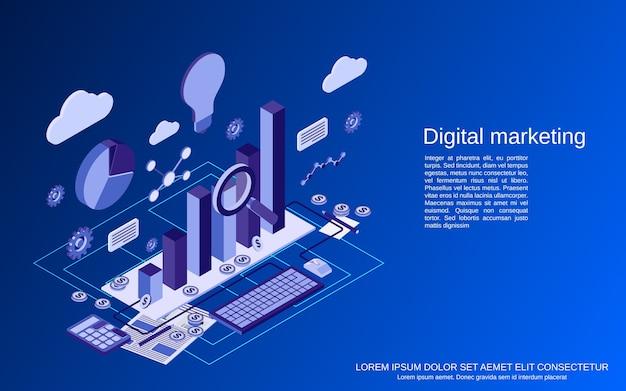 Digitale marketing, beheer plat isometrisch concept