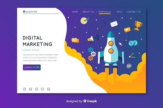 Digitale marketing bestemmingspagina met raket