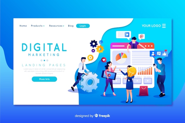 Digitale marketing bestemmingspagina sjabloon Premium Vector