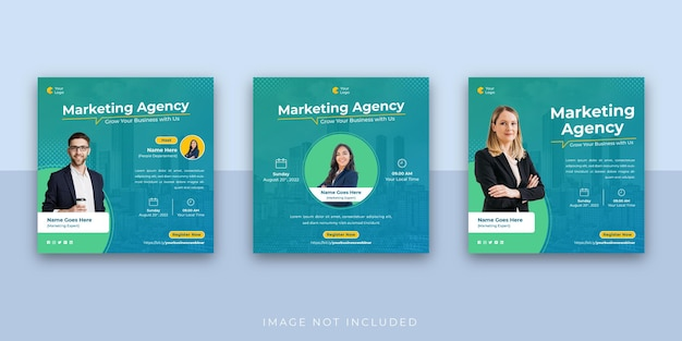 Digitale marketing business webinar social media instagram-berichtsjabloon