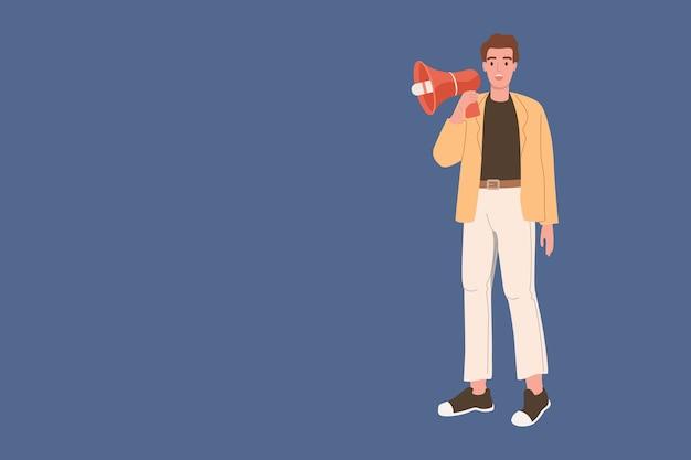 Digitale marketing. de mens spreekt in een megafoon op een blauwe achtergrond