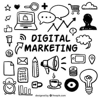 Digitale marketing doodles