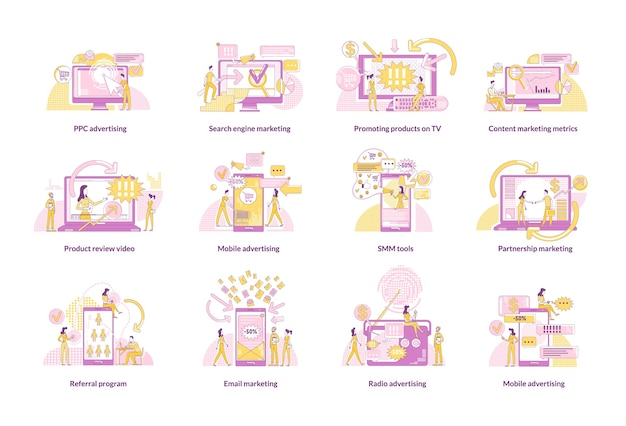 Digitale marketing dunne lijn concept set. marketeers en klanten 2d stripfiguren voor webdesign. promotiestrategieën, creatieve ideeën voor advertentietechnologieën
