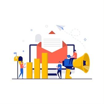 Digitale marketing, e-mailcampagne, nieuwsbrief en abonnementsconcepten met karakter. e-mailbericht als onderdeel van zakelijke marketing. moderne vlakke stijl voor bestemmingspagina, heldenafbeeldingen.
