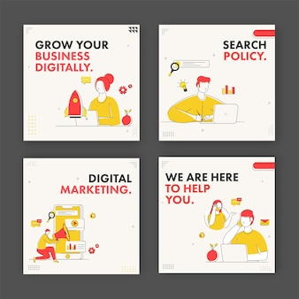 Digitale marketing en bedrijfsconcept gebaseerd posterontwerp in vier opties.