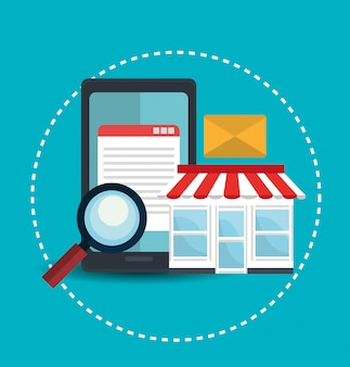 Digitale marketing en online verkoop, online shop en mobiel