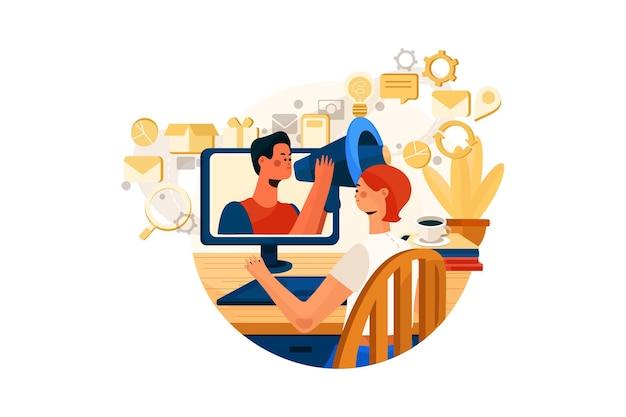 Digitale marketing illustratie concept