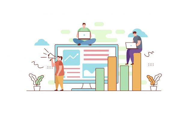 Digitale marketing in vlakke stijl