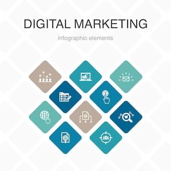 Digitale marketing infographic 10 optie kleur design.internet, marketingonderzoek, sociale campagne, pay-per-click eenvoudige pictogrammen