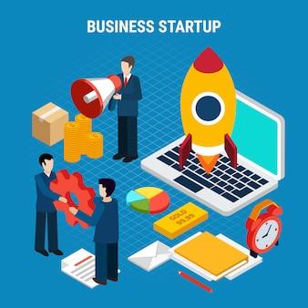 Digitale marketing isometrisch met opstarten van bedrijvenhulpmiddelen op blauwe 3d illustratie