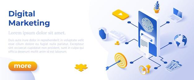 Digitale marketing - isometrisch ontwerp in trendy kleuren isometrische pictogrammen op blauwe achtergrond. sjabloon voor bannerlay-out voor websiteontwikkeling