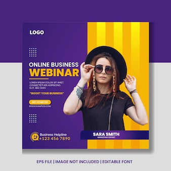 Digitale marketing live webinar en social media postbanne-sjabloon