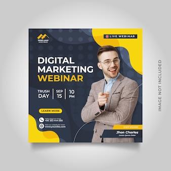 Digitale marketing live webinar en zakelijke social media postsjabloon