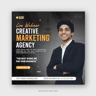 Digitale marketing live webinar sociale media instagram post en zakelijke flyer bannerontwerp