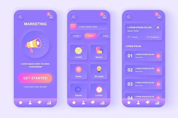 Digitale marketing moderne neumorfisch ontwerp ui mobiele app