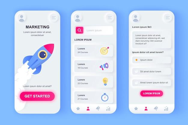 Digitale marketing moderne neumorfisch ontwerp ui mobiele app