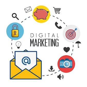 Digitale marketing plat pictogrammen